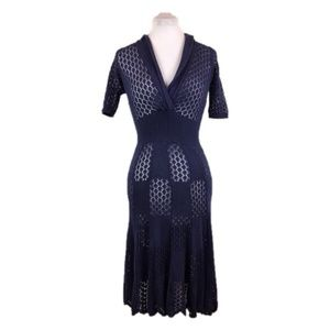 Betsey Johnson Sz S Navy blue knit retro dress
